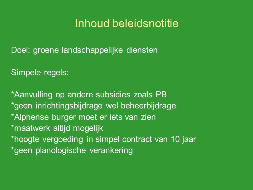Inhoud beleidsnotitie Doel: groene landschappelijke diensten Simpele regels: *Aanvulling op andere subsidies zoals PB *geen inrichtingsbijdrage wel be
