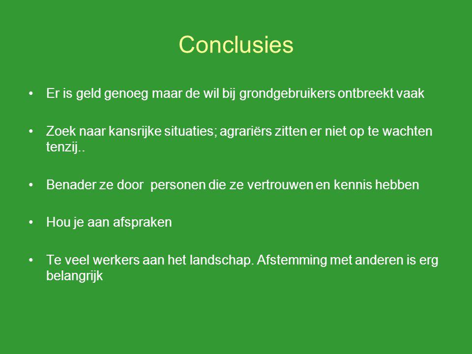 Conclusies Er is geld genoeg maar de wil bij grondgebruikers ontbreekt vaak Zoek naar kansrijke situaties; agrariërs zitten er niet op te wachten tenzij..