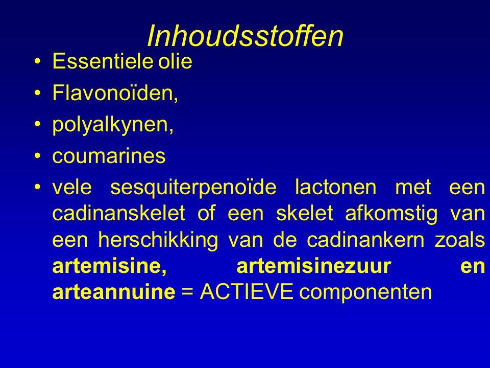 Inhoudsstoffen Essentiele olie Flavonoïden, polyalkynen, coumarines vele sesquiterpenoïde lactonen met een cadinanskelet of een skelet afkomstig van e