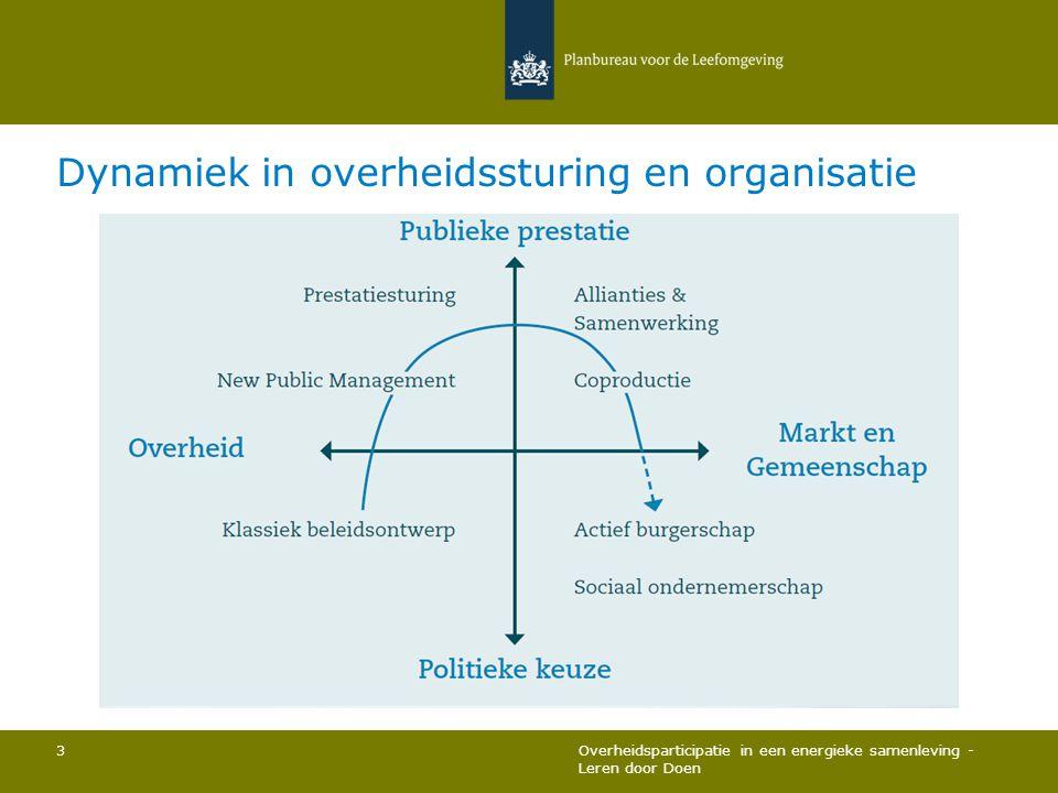 Dynamiek in overheidssturing en organisatie Overheidsparticipatie in een energieke samenleving - Leren door Doen 3