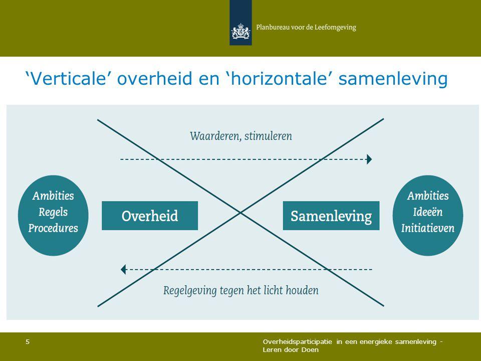 'Verticale' overheid en 'horizontale' samenleving Overheidsparticipatie in een energieke samenleving - Leren door Doen 5