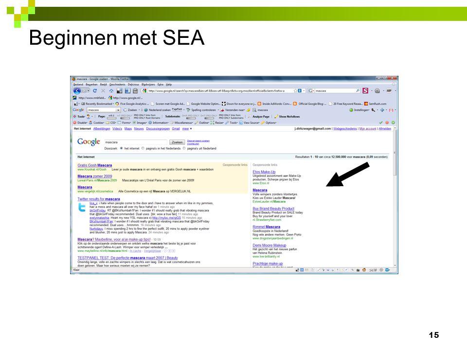 Beginnen met SEA 15