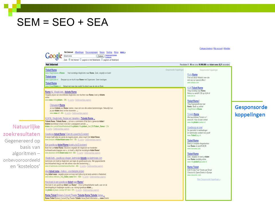 SEM = SEO + SEA 4 Natuurlijke zoekresultaten Gegenereerd op basis van algoritmen – onbevooroordeeld en 'kosteloos' Gesponsorde koppelingen