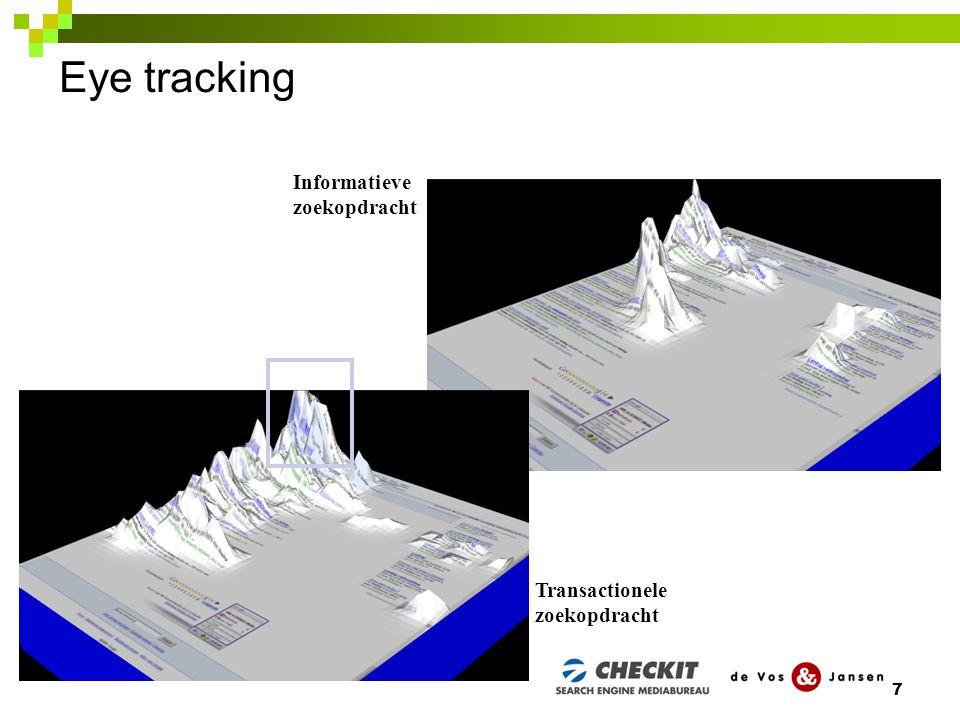 Eye tracking Er blijken zeven motieven om te klikken: 1.Bekendheid & betrouwbaarheid van een website of organisatie.