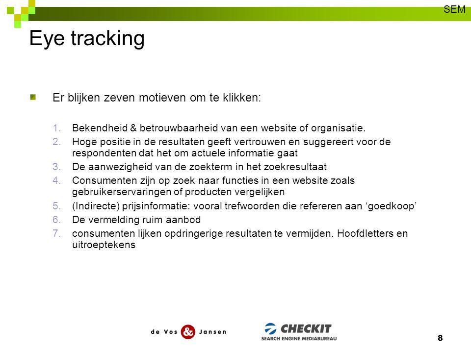 Eye tracking Er blijken zeven motieven om te klikken: 1.Bekendheid & betrouwbaarheid van een website of organisatie. 2.Hoge positie in de resultaten g