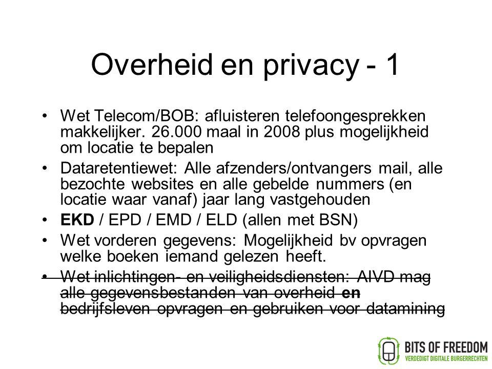 Overheid en privacy - 1 Wet Telecom/BOB: afluisteren telefoongesprekken makkelijker.