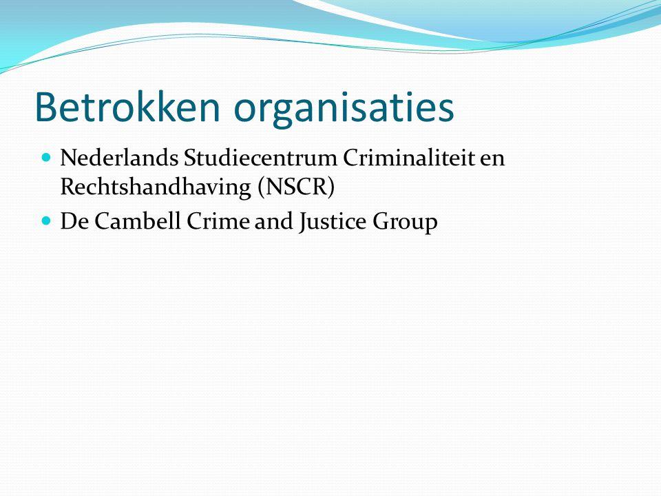 Betrokken organisaties Nederlands Studiecentrum Criminaliteit en Rechtshandhaving (NSCR) De Cambell Crime and Justice Group