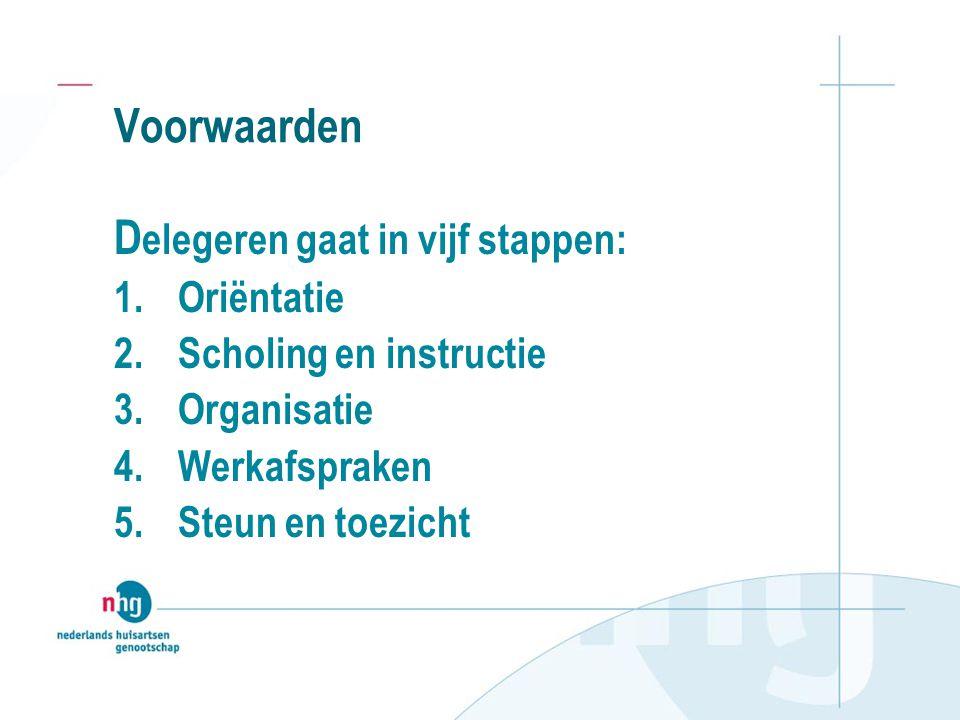 Voorwaarden D elegeren gaat in vijf stappen: 1.Oriëntatie 2.Scholing en instructie 3.Organisatie 4.Werkafspraken 5.Steun en toezicht