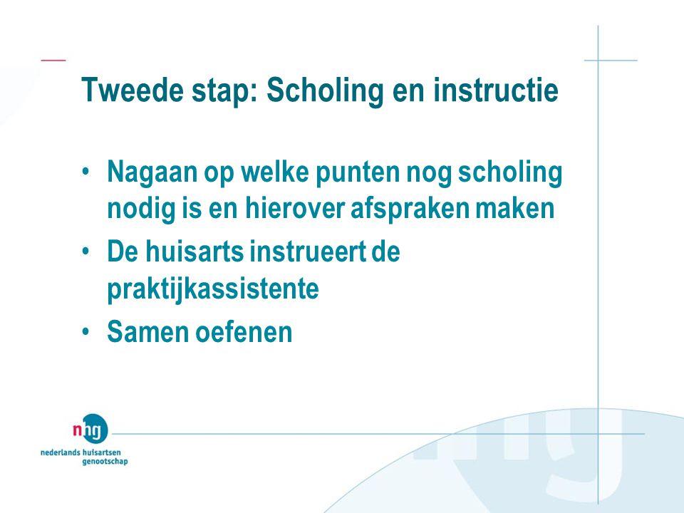 Tweede stap: Scholing en instructie Nagaan op welke punten nog scholing nodig is en hierover afspraken maken De huisarts instrueert de praktijkassistente Samen oefenen