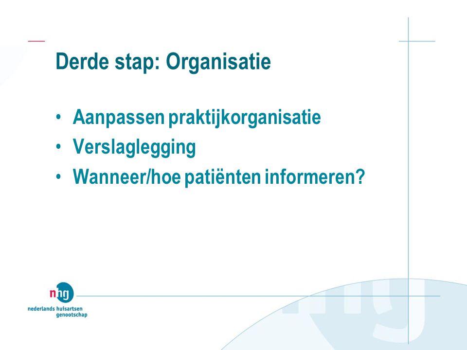 Derde stap: Organisatie Aanpassen praktijkorganisatie Verslaglegging Wanneer/hoe patiënten informeren?