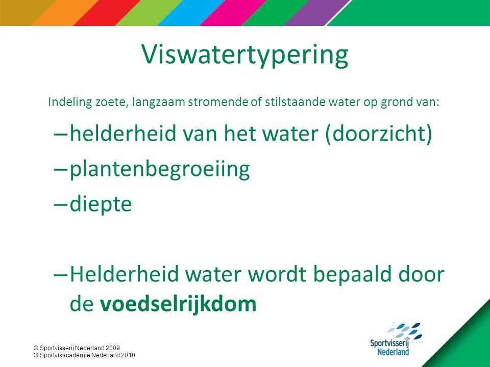 © Sportvisserij Nederland 2009 © Sportvisacademie Nederland 2010 Indeling zoete, langzaam stromende of stilstaande water op grond van: – helderheid van het water (doorzicht) – plantenbegroeiing – diepte – Helderheid water wordt bepaald door de voedselrijkdom Viswatertypering