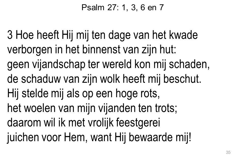 Psalm 27: 1, 3, 6 en 7 3 Hoe heeft Hij mij ten dage van het kwade verborgen in het binnenst van zijn hut: geen vijandschap ter wereld kon mij schaden, de schaduw van zijn wolk heeft mij beschut.