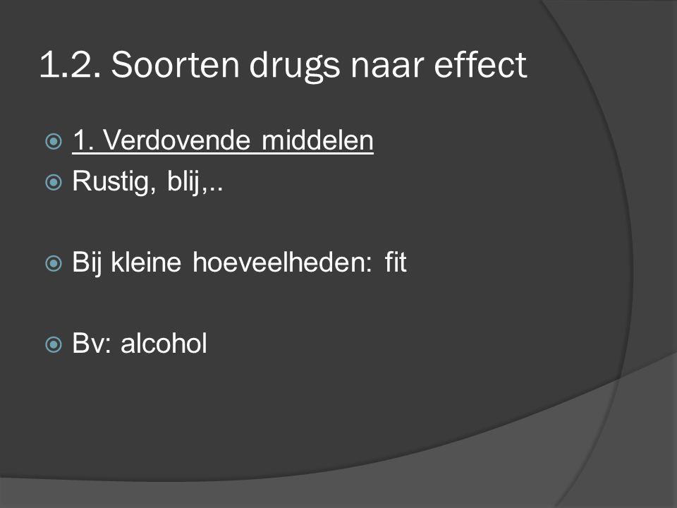 1.2. Soorten drugs naar effect  1. Verdovende middelen  Rustig, blij,..  Bij kleine hoeveelheden: fit  Bv: alcohol