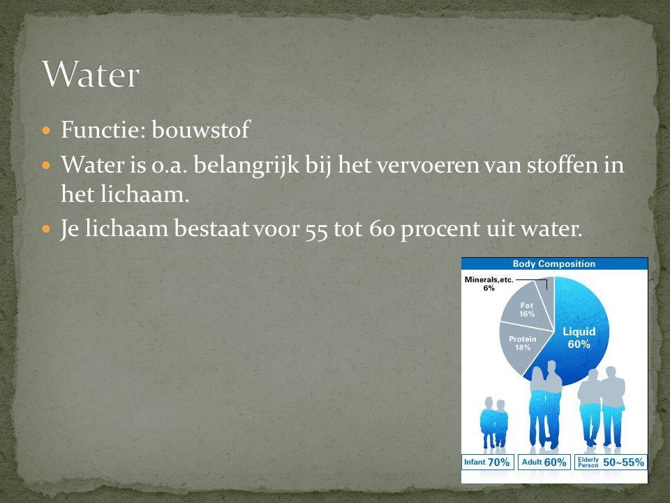 Functie: bouwstof Water is o.a.belangrijk bij het vervoeren van stoffen in het lichaam.
