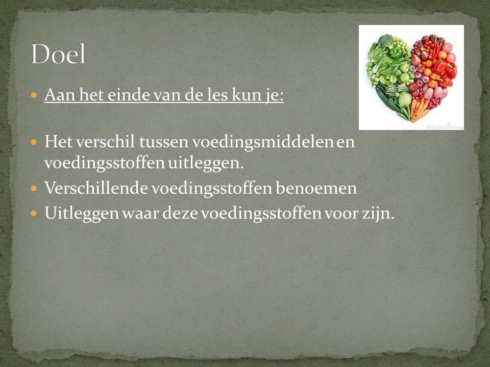 Aan het einde van de les kun je: Het verschil tussen voedingsmiddelen en voedingsstoffen uitleggen.