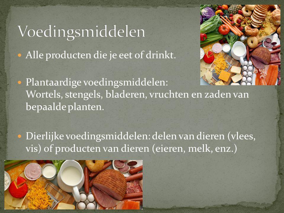 De bruikbare bestanddelen van voedingsmiddelen.