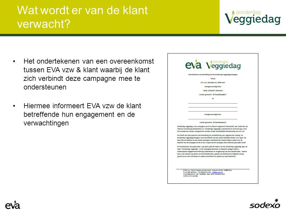 Wat wordt er van de klant verwacht? Het ondertekenen van een overeenkomst tussen EVA vzw & klant waarbij de klant zich verbindt deze campagne mee te o