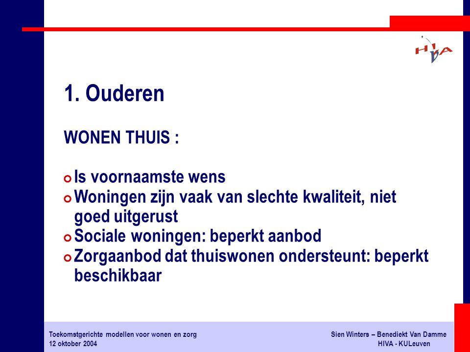 Toekomstgerichte modellen voor wonen en zorgSien Winters – Benediekt Van Damme 12 oktober 2004HIVA - KULeuven WONEN THUIS : # Is voornaamste wens # Wo