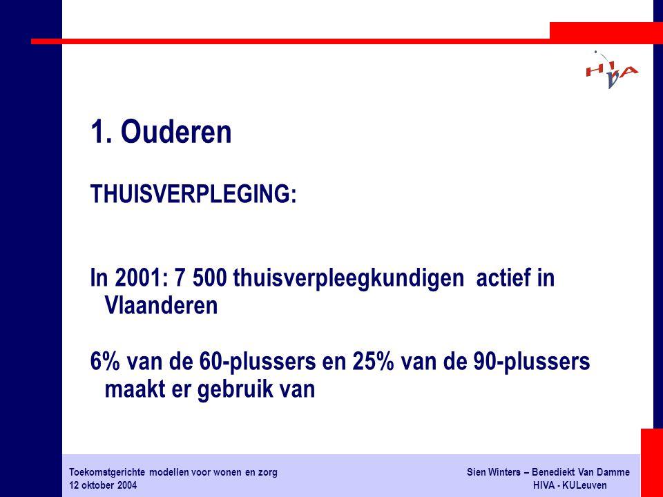 Toekomstgerichte modellen voor wonen en zorgSien Winters – Benediekt Van Damme 12 oktober 2004HIVA - KULeuven THUISVERPLEGING: In 2001: 7 500 thuisverpleegkundigen actief in Vlaanderen 6% van de 60-plussers en 25% van de 90-plussers maakt er gebruik van 1.