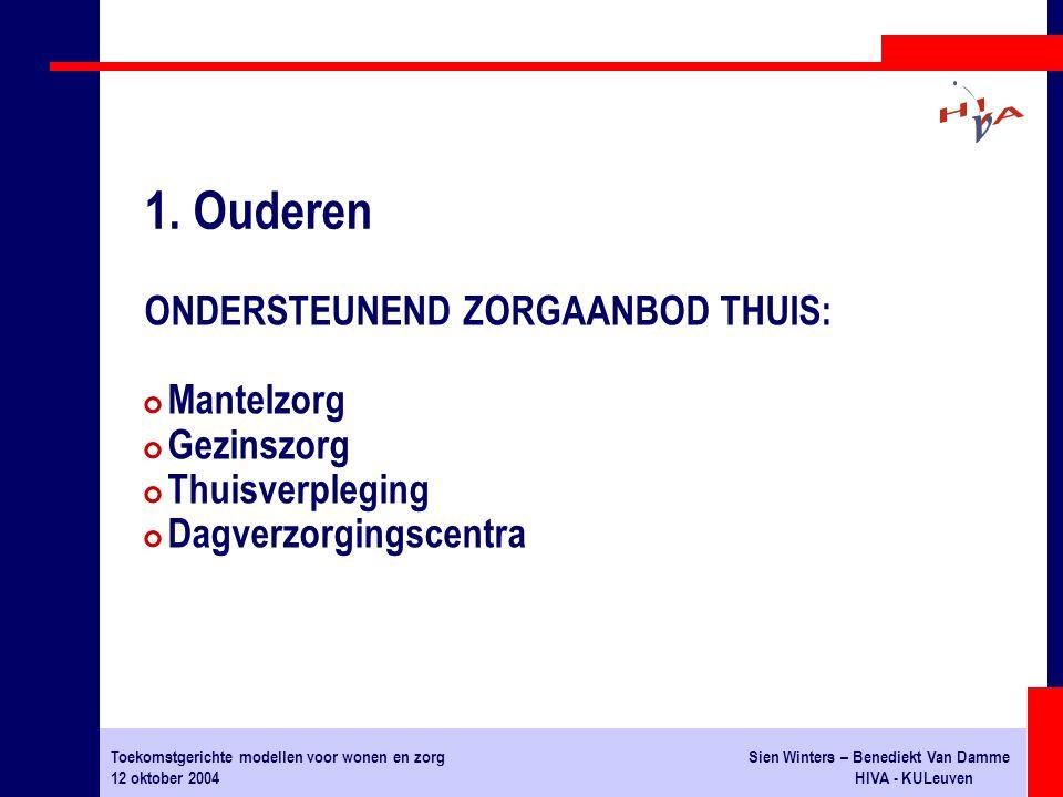 Toekomstgerichte modellen voor wonen en zorgSien Winters – Benediekt Van Damme 12 oktober 2004HIVA - KULeuven ONDERSTEUNEND ZORGAANBOD THUIS: # Mantel