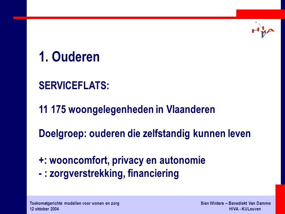 Toekomstgerichte modellen voor wonen en zorgSien Winters – Benediekt Van Damme 12 oktober 2004HIVA - KULeuven SERVICEFLATS: 11 175 woongelegenheden in