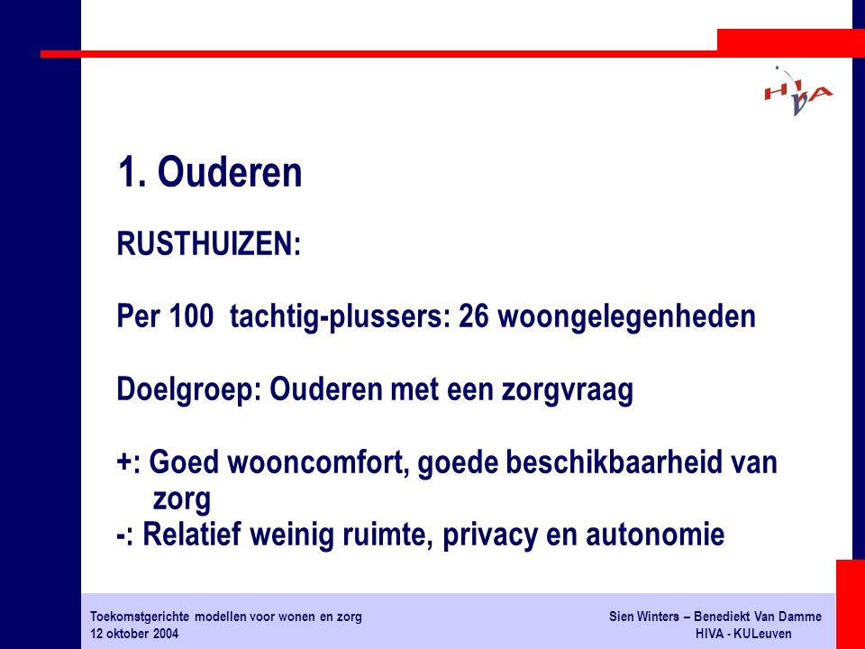 Toekomstgerichte modellen voor wonen en zorgSien Winters – Benediekt Van Damme 12 oktober 2004HIVA - KULeuven RUSTHUIZEN: Per 100 tachtig-plussers: 26