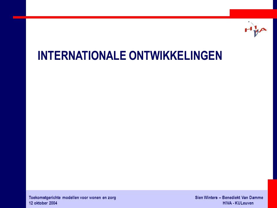 Toekomstgerichte modellen voor wonen en zorgSien Winters – Benediekt Van Damme 12 oktober 2004HIVA - KULeuven INTERNATIONALE ONTWIKKELINGEN