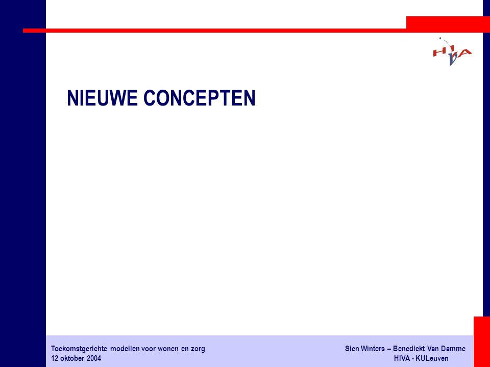 Toekomstgerichte modellen voor wonen en zorgSien Winters – Benediekt Van Damme 12 oktober 2004HIVA - KULeuven NIEUWE CONCEPTEN
