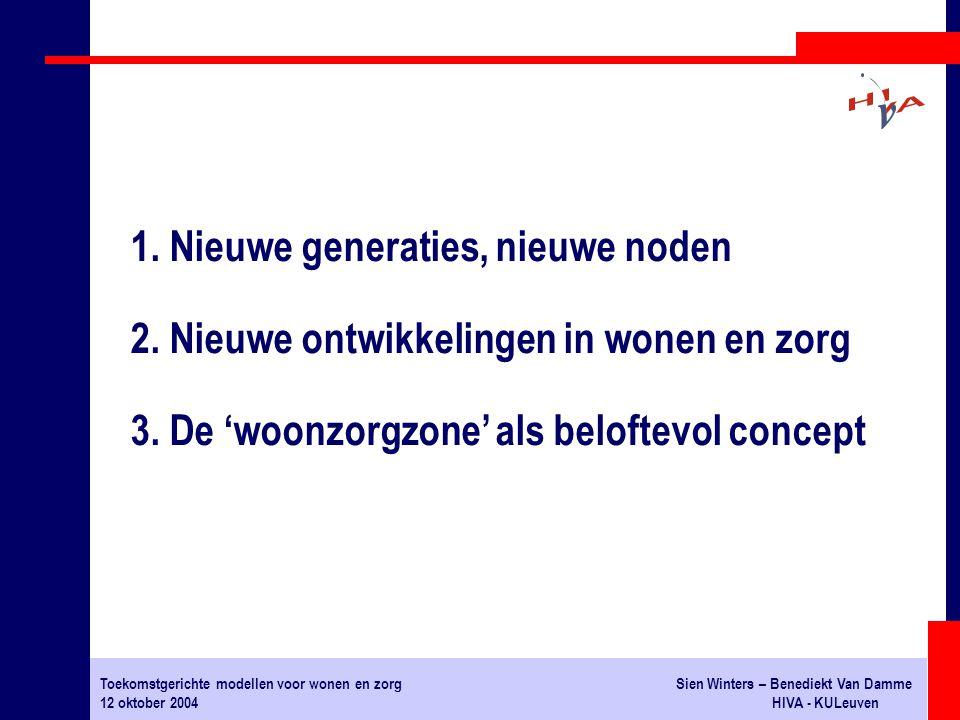 Toekomstgerichte modellen voor wonen en zorgSien Winters – Benediekt Van Damme 12 oktober 2004HIVA - KULeuven DIENSTENCENTRA: 131 erkende centra in Vlaanderen ligging: in kernen problemen: te beperkte actieradius, financiering 1.