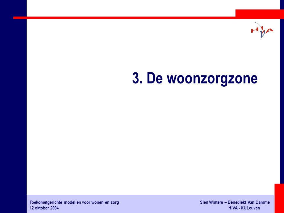 Toekomstgerichte modellen voor wonen en zorgSien Winters – Benediekt Van Damme 12 oktober 2004HIVA - KULeuven 3. De woonzorgzone