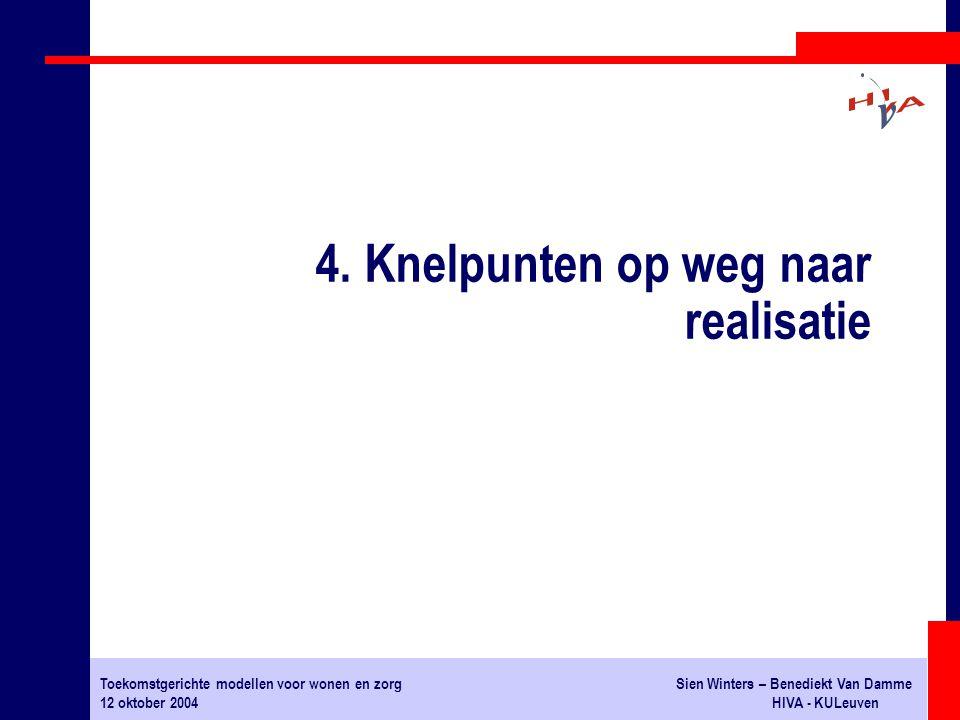 Toekomstgerichte modellen voor wonen en zorgSien Winters – Benediekt Van Damme 12 oktober 2004HIVA - KULeuven 4. Knelpunten op weg naar realisatie