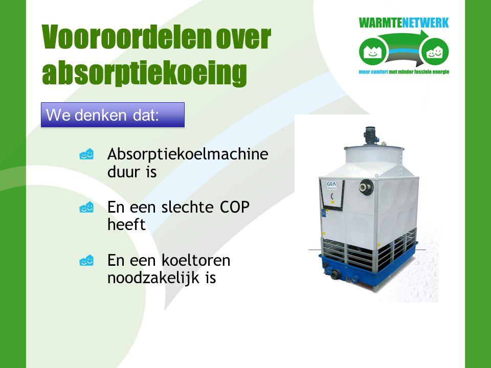 Vooroordelen over absorptiekoeing Absorptiekoelmachine duur is En een slechte COP heeft En een koeltoren noodzakelijk is We denken dat: