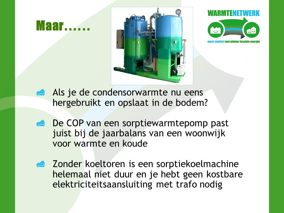 Warmtepompen WP elektrisch met compressor AWP Sorptie- proces op warmte COP4 PER1,6 1) COP1,7 PER≥1,6 2) 1) Rendement centrales 40% 2) Bij warmte uit aardgas; gunstiger bij groen- en restwarmte