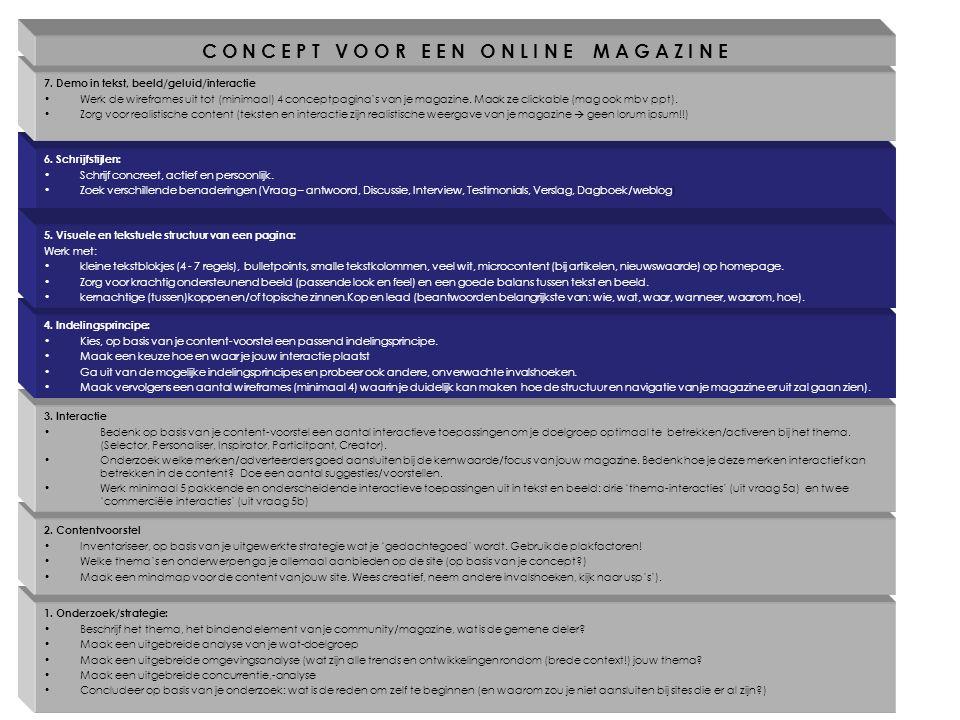 1. Onderzoek/strategie: Beschrijf het thema, het bindend element van je community/magazine, wat is de gemene deler? Maak een uitgebreide analyse van j