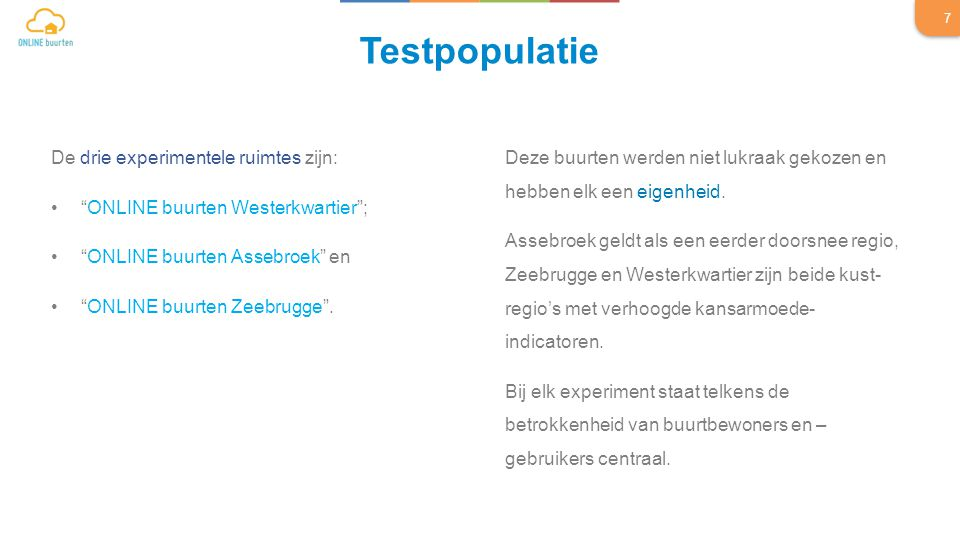De drie experimentele ruimtes zijn: ONLINE buurten Westerkwartier ; ONLINE buurten Assebroek en ONLINE buurten Zeebrugge .