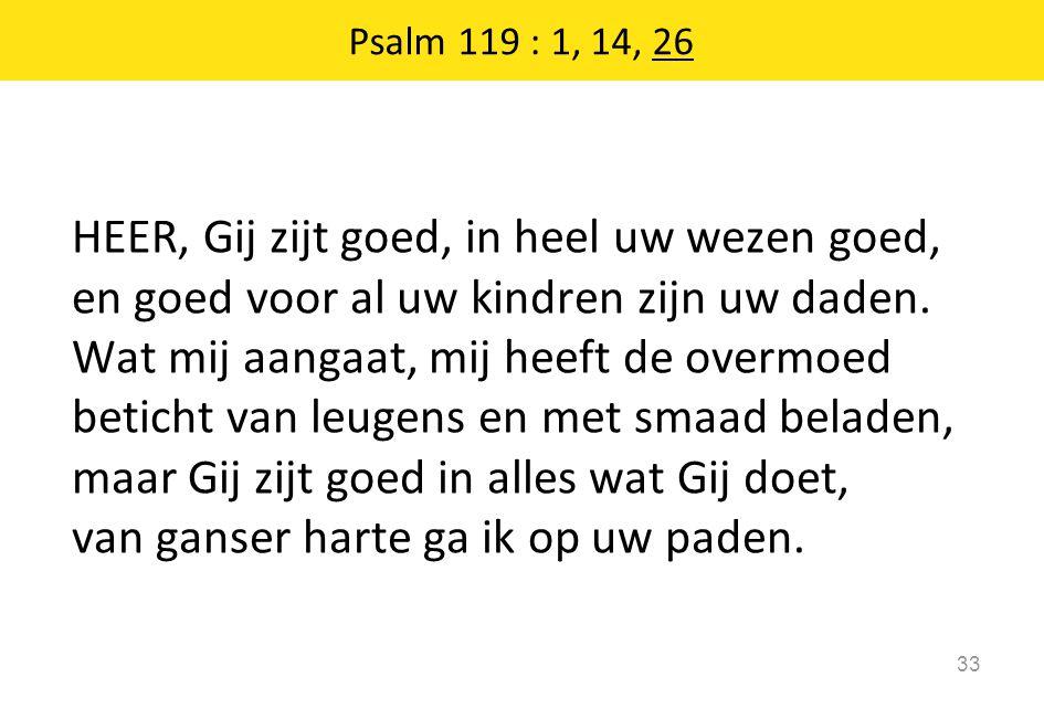 Psalm 119 : 1, 14, 26 33 HEER, Gij zijt goed, in heel uw wezen goed, en goed voor al uw kindren zijn uw daden. Wat mij aangaat, mij heeft de overmoed