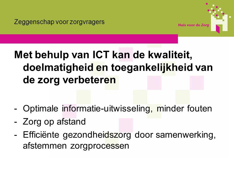 Zeggenschap voor zorgvragers Met behulp van ICT kan de kwaliteit, doelmatigheid en toegankelijkheid van de zorg verbeteren -Optimale informatie-uitwis