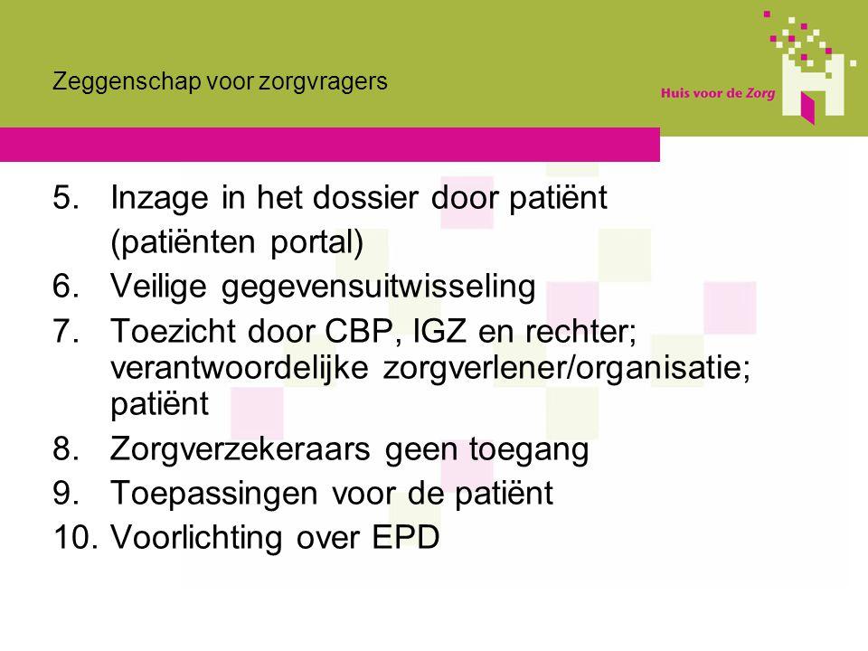 Zeggenschap voor zorgvragers 5.Inzage in het dossier door patiënt (patiënten portal) 6.Veilige gegevensuitwisseling 7. Toezicht door CBP, IGZ en recht