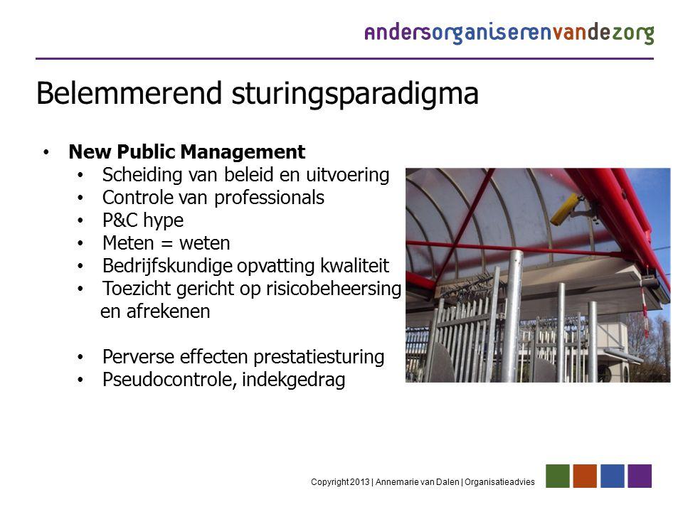 Belemmerend sturingsparadigma Copyright 2013 | Annemarie van Dalen | Organisatieadvies New Public Management Scheiding van beleid en uitvoering Contro