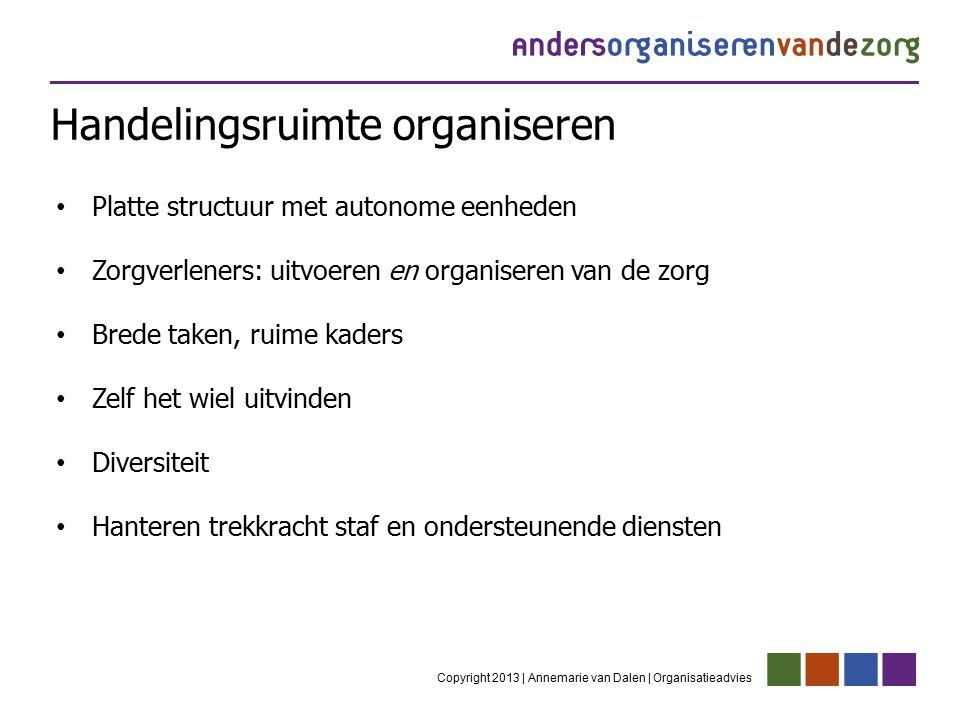 Handelingsruimte organiseren Copyright 2013 | Annemarie van Dalen | Organisatieadvies Platte structuur met autonome eenheden Zorgverleners: uitvoeren