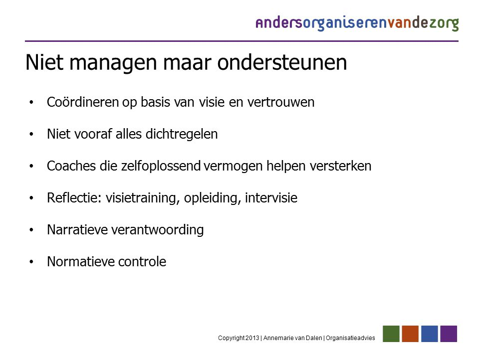 Niet managen maar ondersteunen Copyright 2013 | Annemarie van Dalen | Organisatieadvies Coördineren op basis van visie en vertrouwen Niet vooraf alles