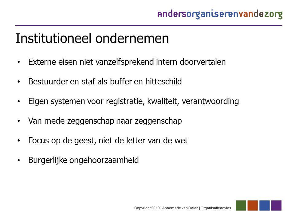 Institutioneel ondernemen Copyright 2013 | Annemarie van Dalen | Organisatieadvies Externe eisen niet vanzelfsprekend intern doorvertalen Bestuurder e