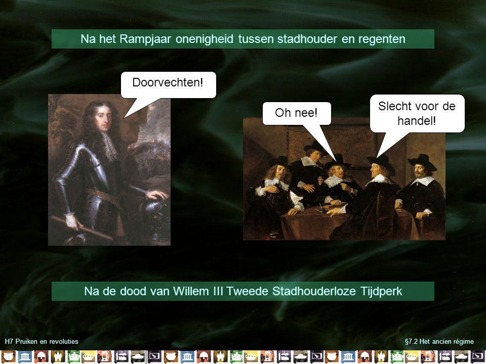 H7 Pruiken en revoluties§7.2 Het ancien régime Na het Rampjaar onenigheid tussen stadhouder en regenten Doorvechten.