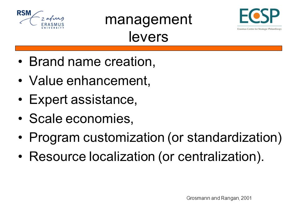 management levers Brand name creation, Value enhancement, Expert assistance, Scale economies, Program customization (or standardization) Resource localization (or centralization).