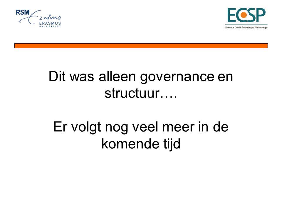 Dit was alleen governance en structuur…. Er volgt nog veel meer in de komende tijd