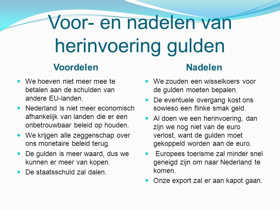 Voor- en nadelen van herinvoering gulden Voordelen Nadelen We hoeven niet meer mee te betalen aan de schulden van andere EU-landen. Nederland is niet