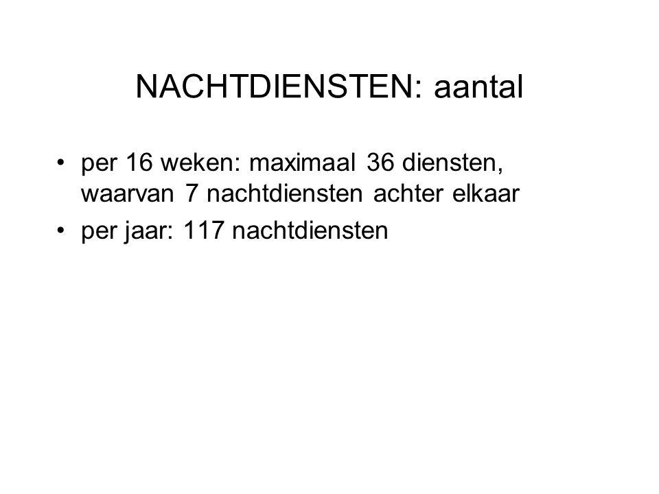 NACHTDIENSTEN: aantal per 16 weken: maximaal 36 diensten, waarvan 7 nachtdiensten achter elkaar per jaar: 117 nachtdiensten