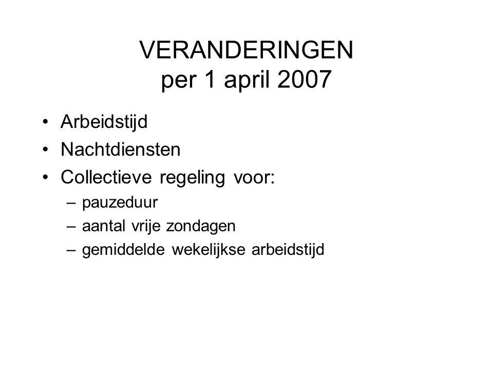 VERANDERINGEN per 1 april 2007 Arbeidstijd Nachtdiensten Collectieve regeling voor: –pauzeduur –aantal vrije zondagen –gemiddelde wekelijkse arbeidsti