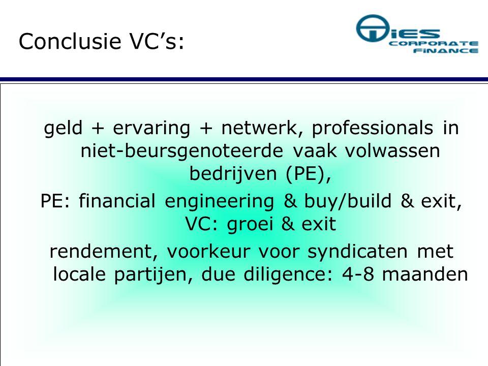 geld + ervaring + netwerk, professionals in niet-beursgenoteerde vaak volwassen bedrijven (PE), PE: financial engineering & buy/build & exit, VC: groei & exit rendement, voorkeur voor syndicaten met locale partijen, due diligence: 4-8 maanden Conclusie VC's: