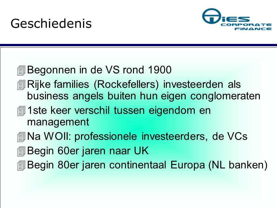 Geschiedenis  Begonnen in de VS rond 1900  Rijke families (Rockefellers) investeerden als business angels buiten hun eigen conglomeraten  1ste keer verschil tussen eigendom en management  Na WOII: professionele investeerders, de VCs  Begin 60er jaren naar UK  Begin 80er jaren continentaal Europa (NL banken)